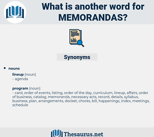 memorandas, synonym memorandas, another word for memorandas, words like memorandas, thesaurus memorandas