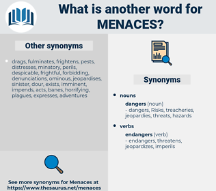 menaces, synonym menaces, another word for menaces, words like menaces, thesaurus menaces