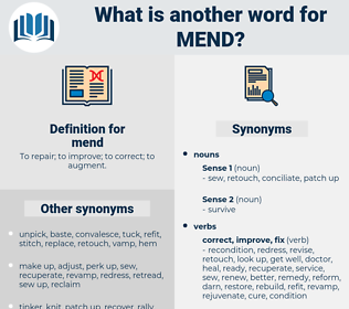 mend, synonym mend, another word for mend, words like mend, thesaurus mend