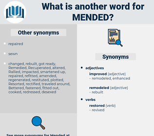 Mended, synonym Mended, another word for Mended, words like Mended, thesaurus Mended