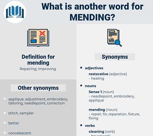mending, synonym mending, another word for mending, words like mending, thesaurus mending