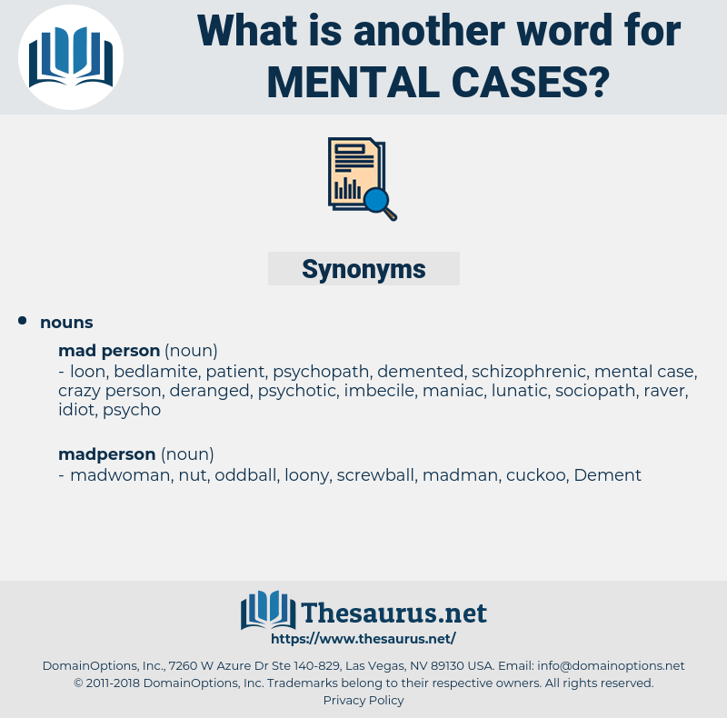 mental cases, synonym mental cases, another word for mental cases, words like mental cases, thesaurus mental cases