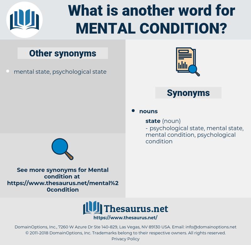 mental condition, synonym mental condition, another word for mental condition, words like mental condition, thesaurus mental condition