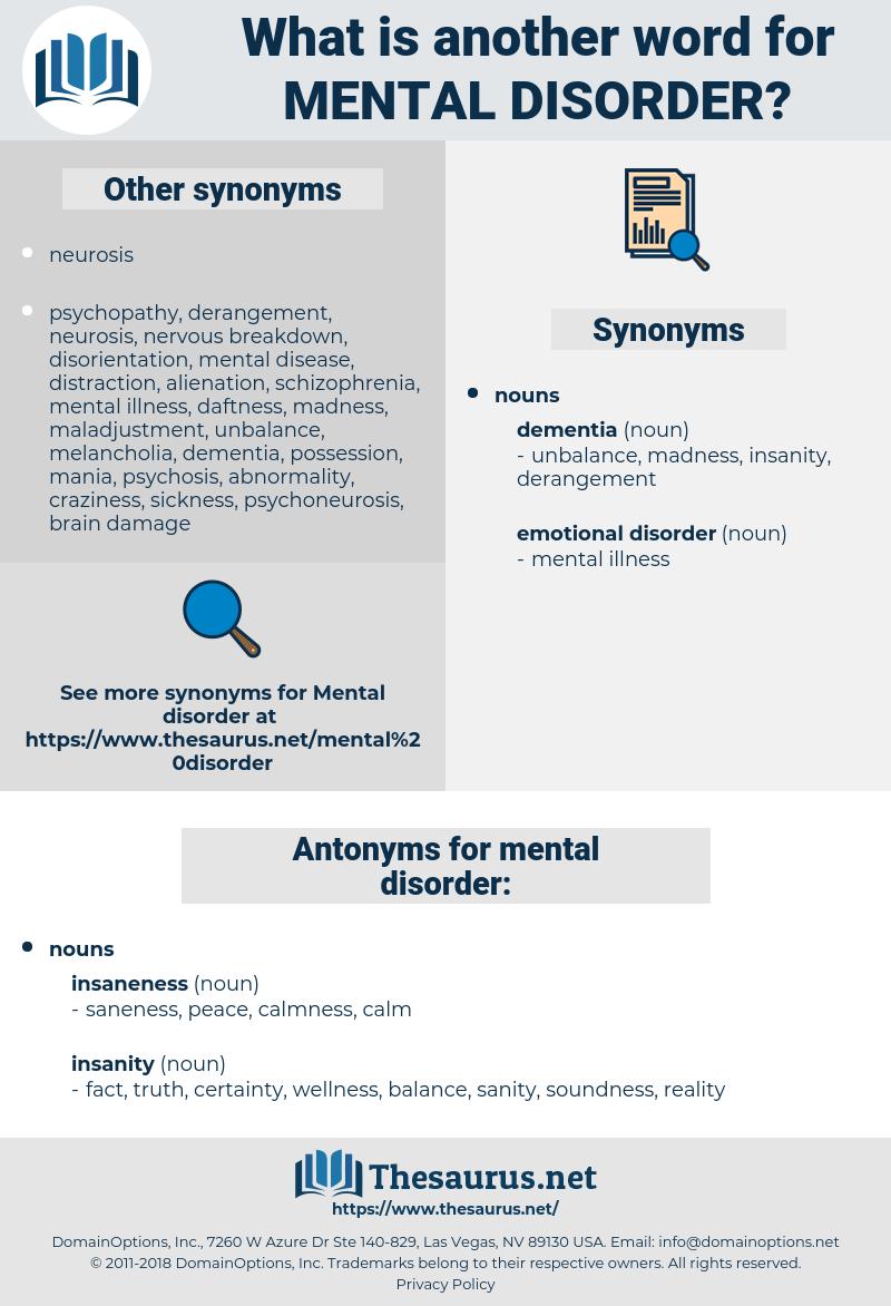 mental disorder, synonym mental disorder, another word for mental disorder, words like mental disorder, thesaurus mental disorder