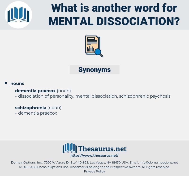 mental dissociation, synonym mental dissociation, another word for mental dissociation, words like mental dissociation, thesaurus mental dissociation
