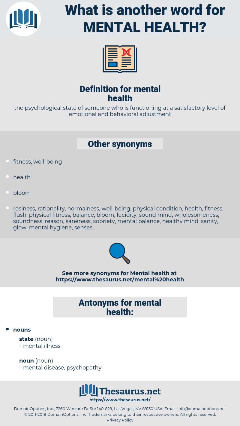 mental health, synonym mental health, another word for mental health, words like mental health, thesaurus mental health