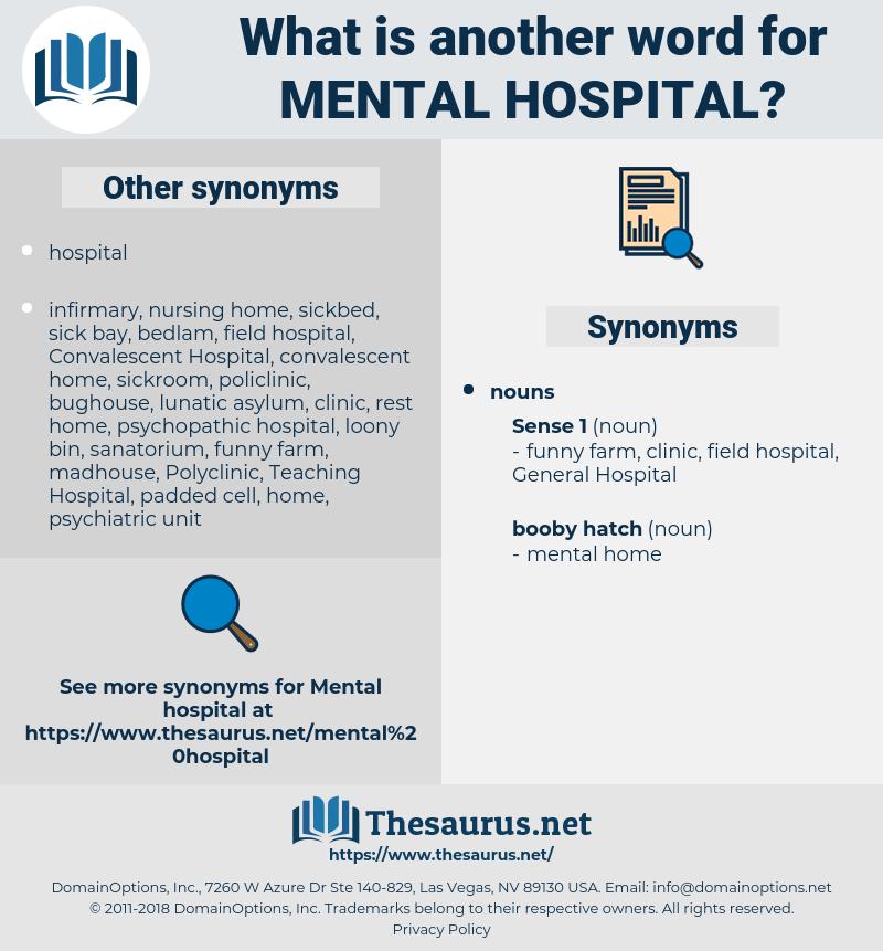 mental hospital, synonym mental hospital, another word for mental hospital, words like mental hospital, thesaurus mental hospital