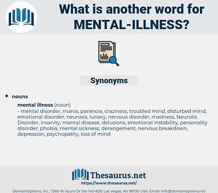 mental illness, synonym mental illness, another word for mental illness, words like mental illness, thesaurus mental illness