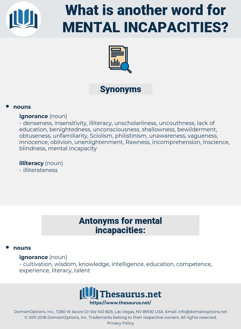 mental incapacities, synonym mental incapacities, another word for mental incapacities, words like mental incapacities, thesaurus mental incapacities