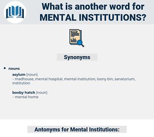 Mental Institutions, synonym Mental Institutions, another word for Mental Institutions, words like Mental Institutions, thesaurus Mental Institutions