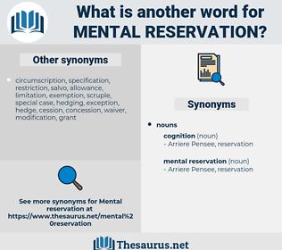 mental reservation, synonym mental reservation, another word for mental reservation, words like mental reservation, thesaurus mental reservation