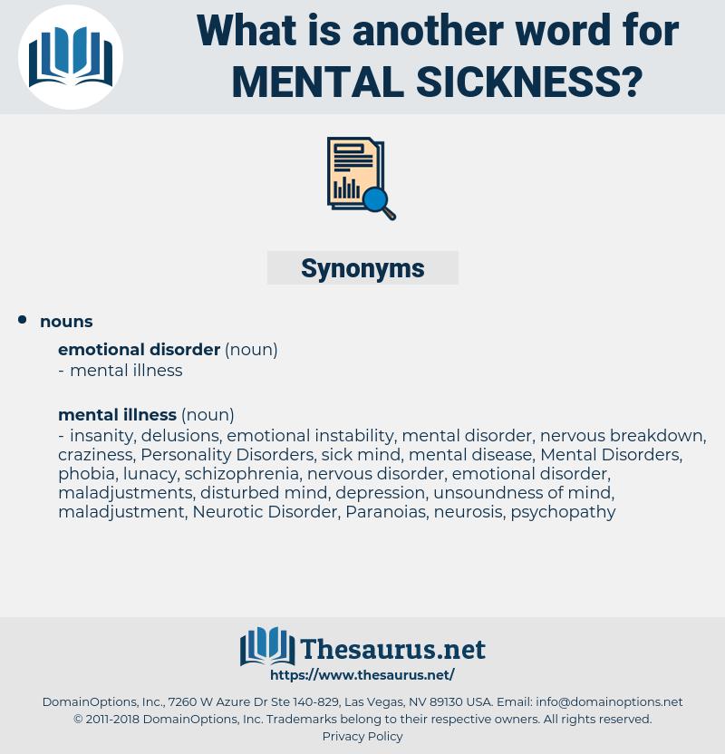 mental sickness, synonym mental sickness, another word for mental sickness, words like mental sickness, thesaurus mental sickness