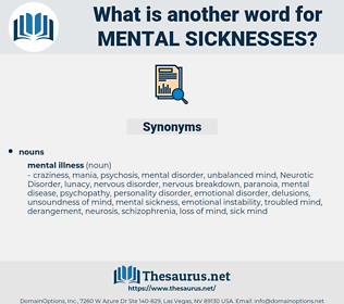 mental sicknesses, synonym mental sicknesses, another word for mental sicknesses, words like mental sicknesses, thesaurus mental sicknesses
