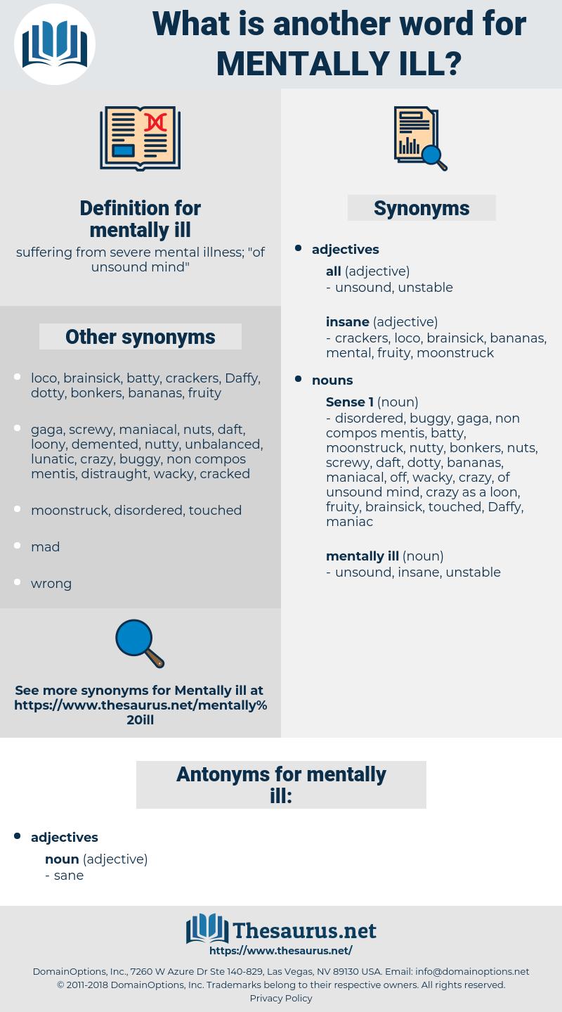 mentally ill, synonym mentally ill, another word for mentally ill, words like mentally ill, thesaurus mentally ill