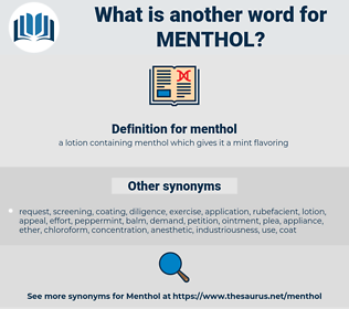 menthol, synonym menthol, another word for menthol, words like menthol, thesaurus menthol
