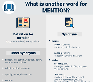 mention, synonym mention, another word for mention, words like mention, thesaurus mention