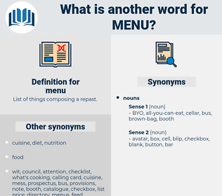 menu, synonym menu, another word for menu, words like menu, thesaurus menu