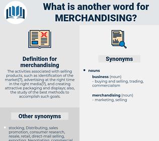 merchandising, synonym merchandising, another word for merchandising, words like merchandising, thesaurus merchandising