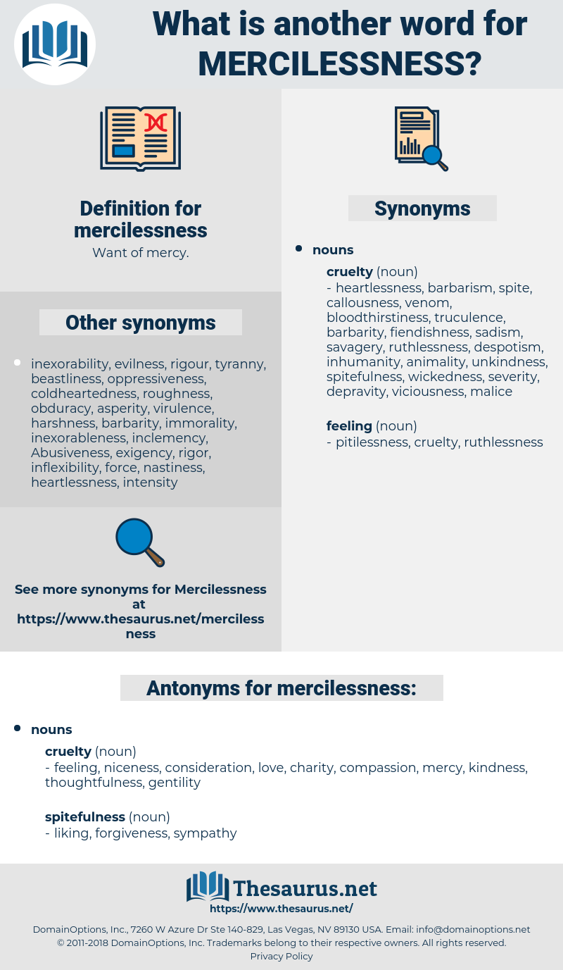 mercilessness, synonym mercilessness, another word for mercilessness, words like mercilessness, thesaurus mercilessness