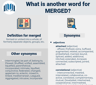 merged, synonym merged, another word for merged, words like merged, thesaurus merged