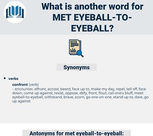 met eyeball to eyeball, synonym met eyeball to eyeball, another word for met eyeball to eyeball, words like met eyeball to eyeball, thesaurus met eyeball to eyeball