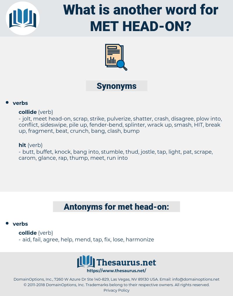 met head on, synonym met head on, another word for met head on, words like met head on, thesaurus met head on