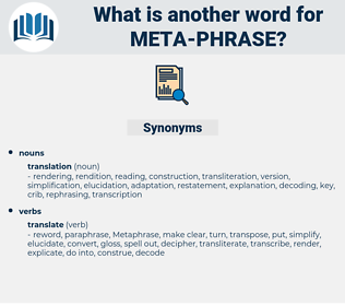 meta phrase, synonym meta phrase, another word for meta phrase, words like meta phrase, thesaurus meta phrase