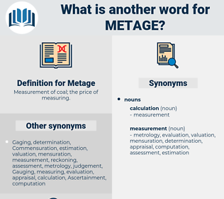Metage, synonym Metage, another word for Metage, words like Metage, thesaurus Metage