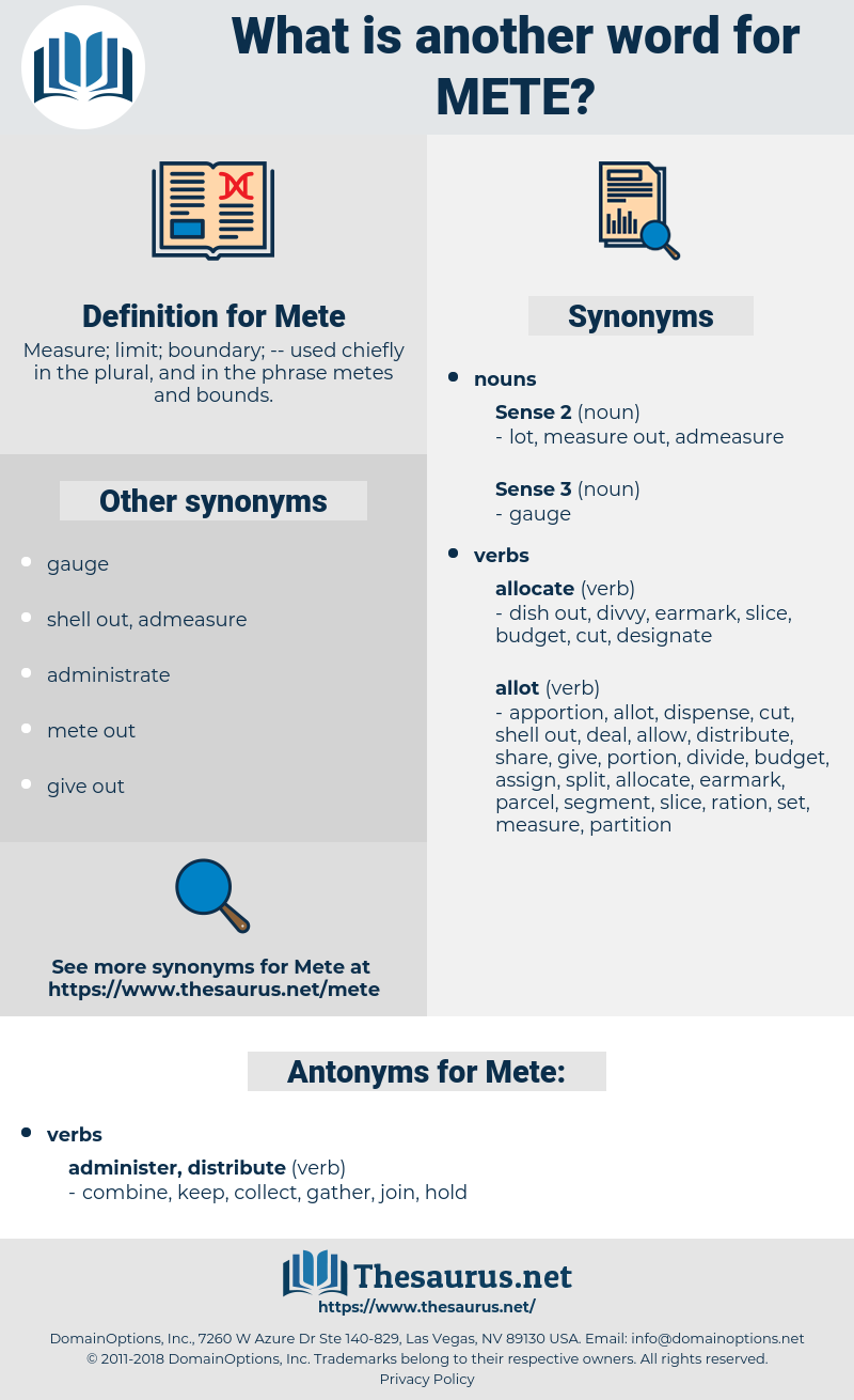 Mete, synonym Mete, another word for Mete, words like Mete, thesaurus Mete