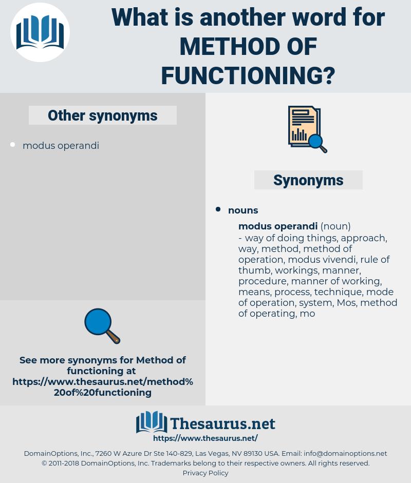method of functioning, synonym method of functioning, another word for method of functioning, words like method of functioning, thesaurus method of functioning