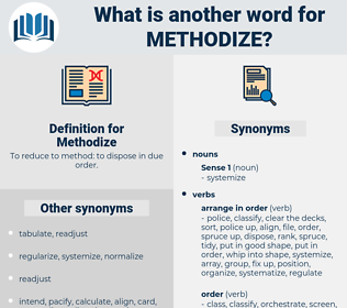 Methodize, synonym Methodize, another word for Methodize, words like Methodize, thesaurus Methodize