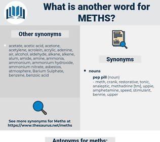 meths, synonym meths, another word for meths, words like meths, thesaurus meths
