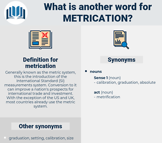 metrication, synonym metrication, another word for metrication, words like metrication, thesaurus metrication