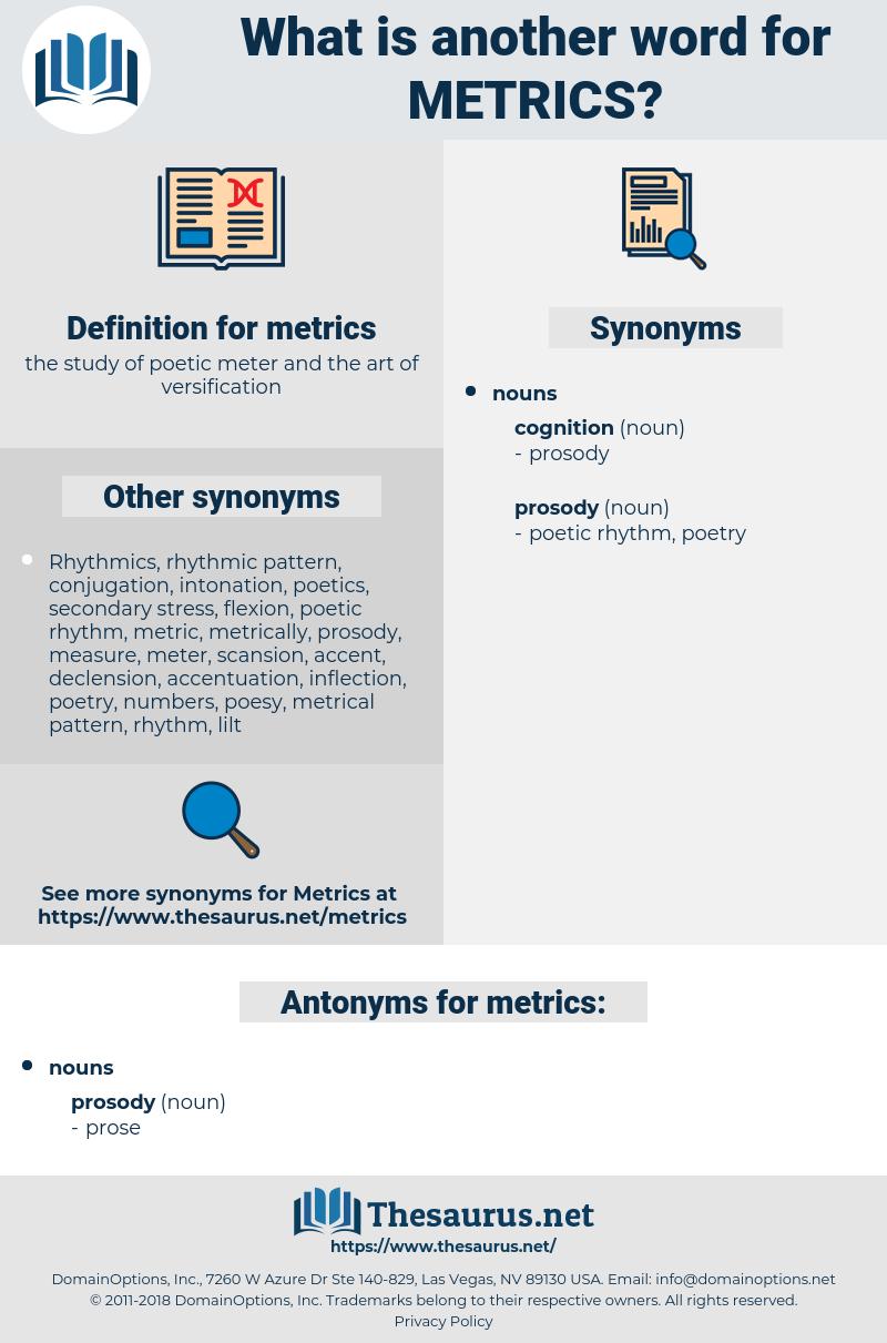 metrics, synonym metrics, another word for metrics, words like metrics, thesaurus metrics