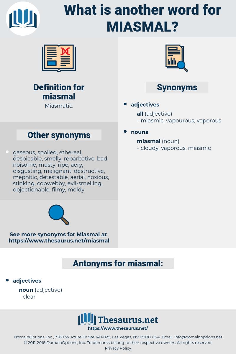 miasmal, synonym miasmal, another word for miasmal, words like miasmal, thesaurus miasmal
