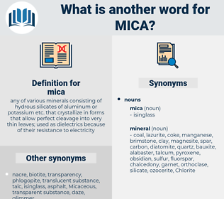 mica, synonym mica, another word for mica, words like mica, thesaurus mica