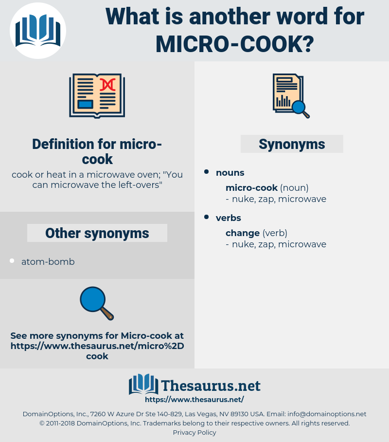 micro-cook, synonym micro-cook, another word for micro-cook, words like micro-cook, thesaurus micro-cook