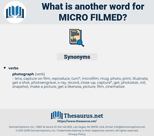 micro-filmed, synonym micro-filmed, another word for micro-filmed, words like micro-filmed, thesaurus micro-filmed