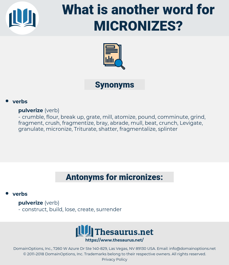 micronizes, synonym micronizes, another word for micronizes, words like micronizes, thesaurus micronizes