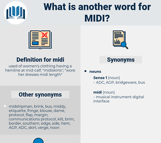 midi, synonym midi, another word for midi, words like midi, thesaurus midi
