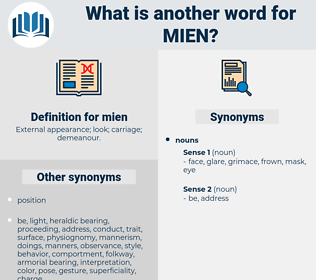 mien, synonym mien, another word for mien, words like mien, thesaurus mien