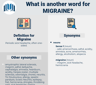 Migraine, synonym Migraine, another word for Migraine, words like Migraine, thesaurus Migraine