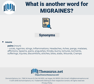 Migraines, synonym Migraines, another word for Migraines, words like Migraines, thesaurus Migraines