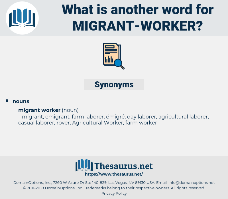 Migrant Worker, synonym Migrant Worker, another word for Migrant Worker, words like Migrant Worker, thesaurus Migrant Worker