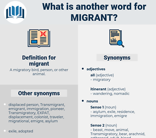 migrant, synonym migrant, another word for migrant, words like migrant, thesaurus migrant