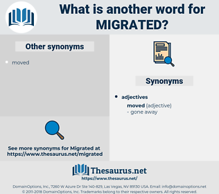 Migrated, synonym Migrated, another word for Migrated, words like Migrated, thesaurus Migrated