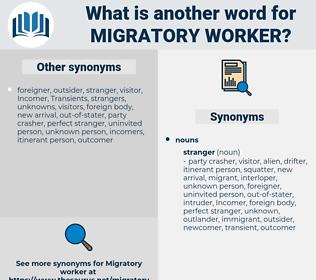 migratory worker, synonym migratory worker, another word for migratory worker, words like migratory worker, thesaurus migratory worker