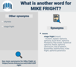 mike fright, synonym mike fright, another word for mike fright, words like mike fright, thesaurus mike fright