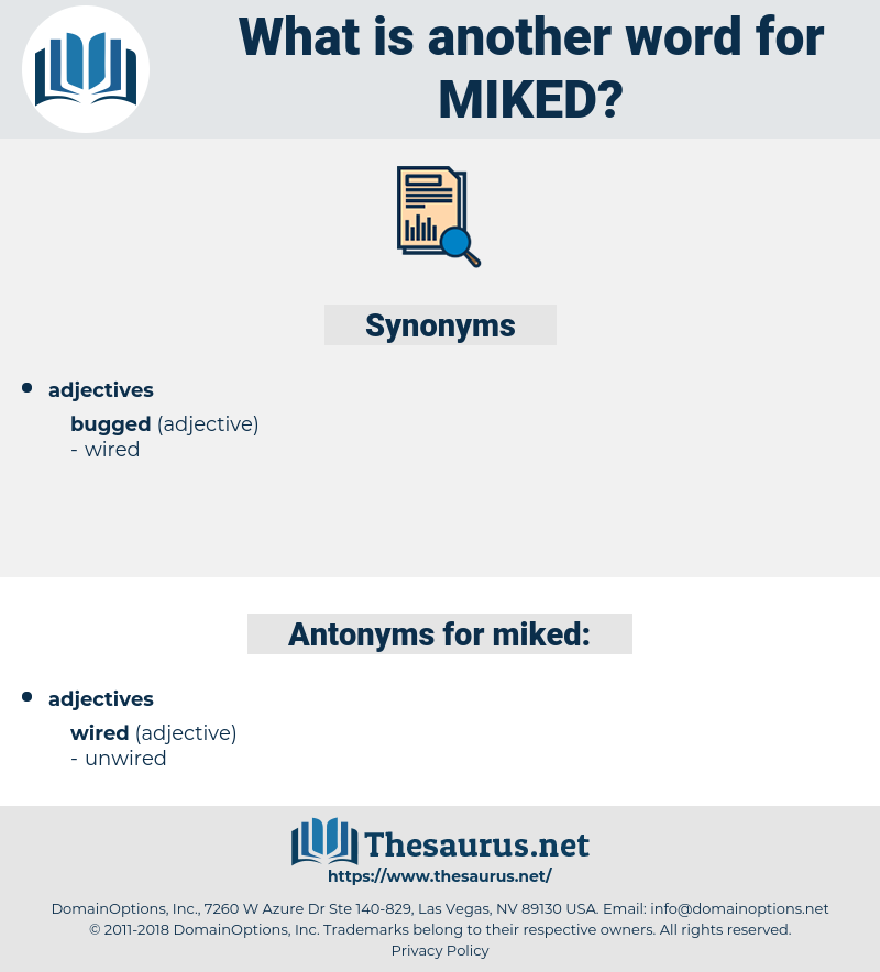 miked, synonym miked, another word for miked, words like miked, thesaurus miked
