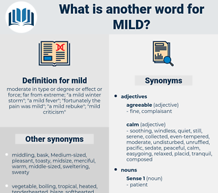 mild, synonym mild, another word for mild, words like mild, thesaurus mild